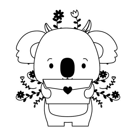 cute koala cartoon mail love vector illustration Stock fotó - 129594134