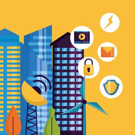 innovation digital services applications buildings smart city vector illustration Illusztráció