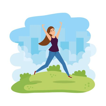 young woman celebrating in the park character vector illustration design