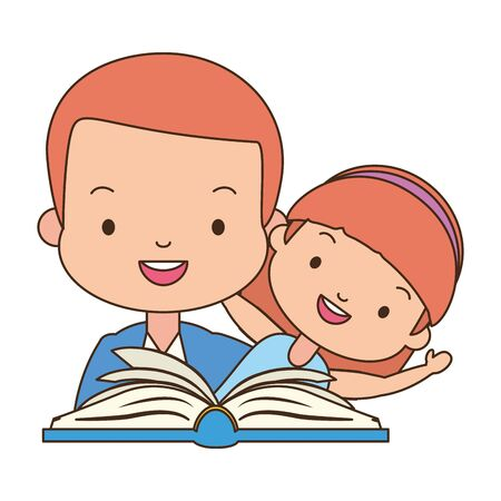 father daughter with reading book vector illustration design