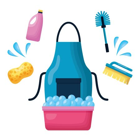 washing bucket sponge brush spring tool cleaning vector illustration Иллюстрация