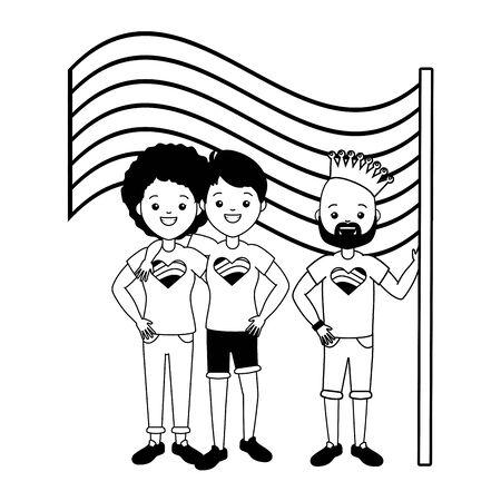 man and women flag lgbt pride vector illustration