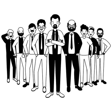 group people men avatars diversity vector illustration