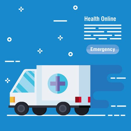 medical ambulance service to emergency diagnosis vector illustration Illustration