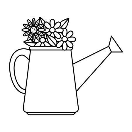 sprinkler pot with flowers vector illustration design Illusztráció