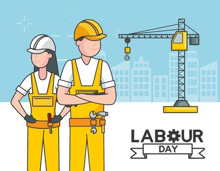 happy labour day man woman worker construction crane vector illustration Illusztráció