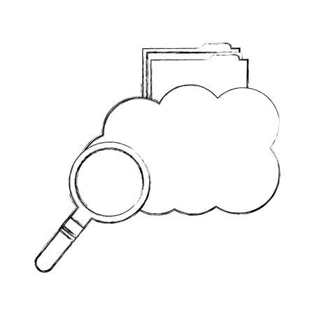 cloud computing with folder and magnifying glass vector illustration design Иллюстрация