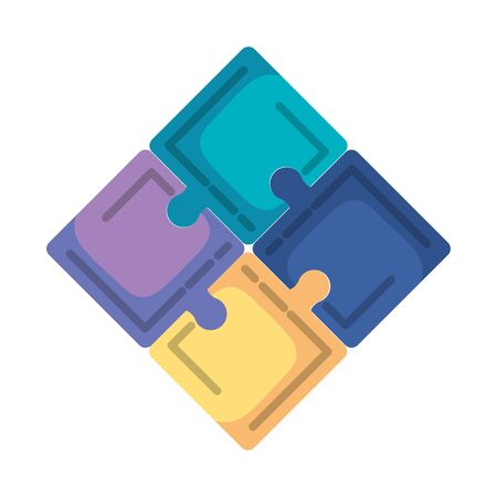 puzzle game pieces icons vector illustration design