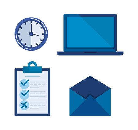 set document check list with laptop and clock vector illustration