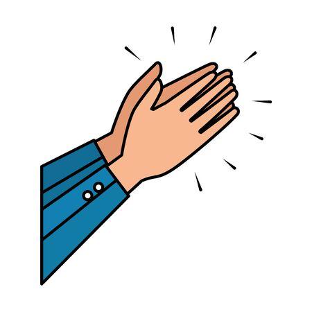 hands human applauding icon vector illustration design Ilustración de vector