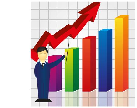 colorful business graph with businessman background. vector 일러스트