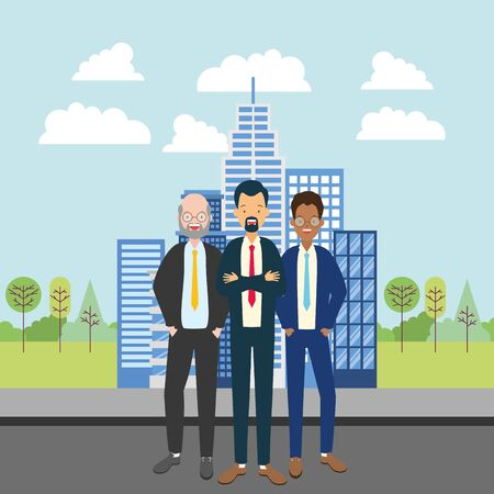 diversity men group city street tree building urban vector illustration