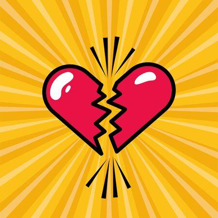 broken love heart pop art design vector illustration