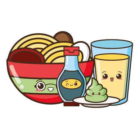 cartoon soup noodle juice sauces character vector illustration