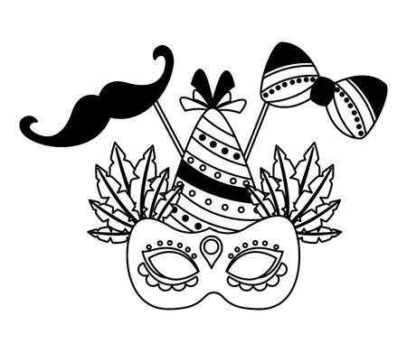 carnival mask hat mustache party vector illustration Illustration