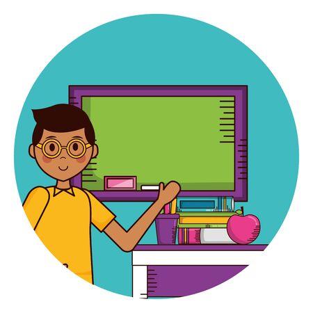 school boy board desk  supplies teachers day card vector illustration Banque d'images - 129527466
