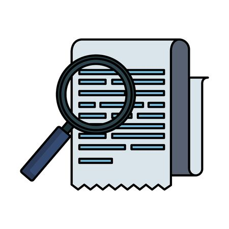 tax documents with magnifying glass vector illustartion design Foto de archivo - 129484118