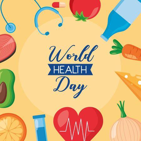 medicine sport food world health day vector illustration