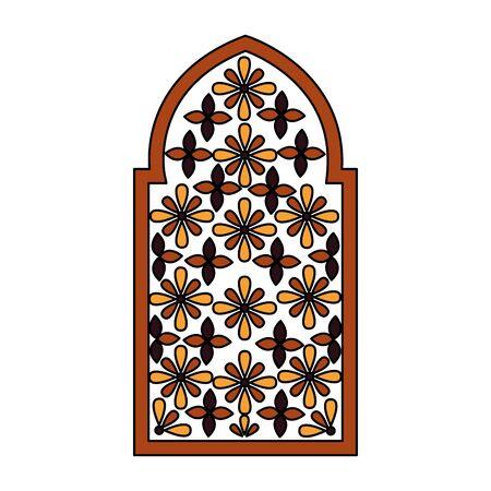 decorated frame flowers arabesque ornament vector illustration