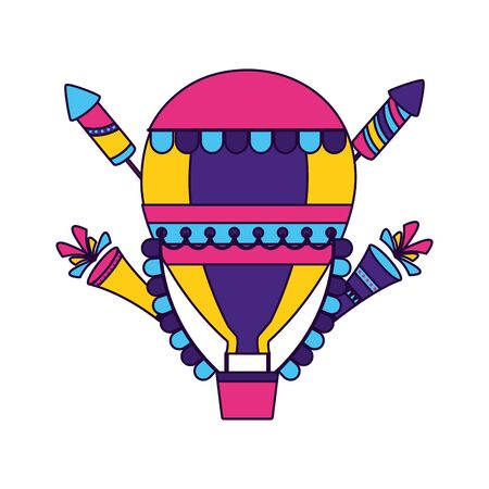 carnival hot air balloon fireworks vector illustration design Illustration