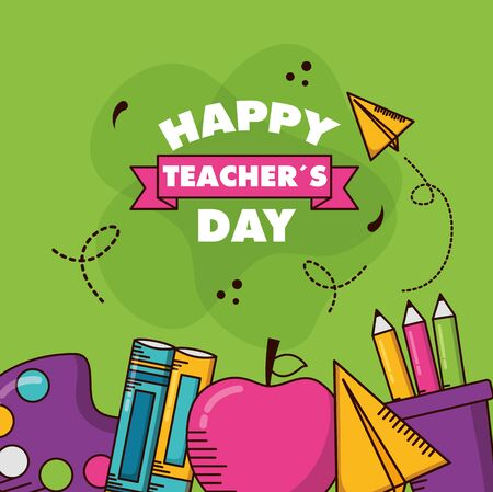 school supplies poster teachers day vector illustration 写真素材 - 129594738