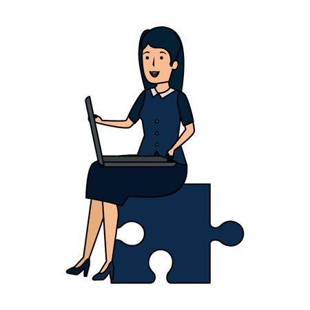young businesswoman sitting in puzzle piece vector illustration design Ilustração