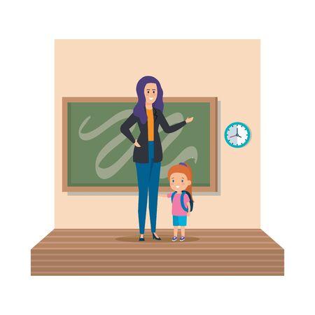 young teacher female with schoolgirl classroom scene vector illustration design Иллюстрация