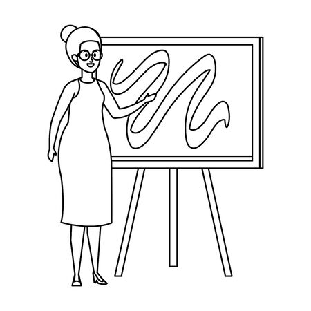 young teacher female with chalkboard vector illustration design