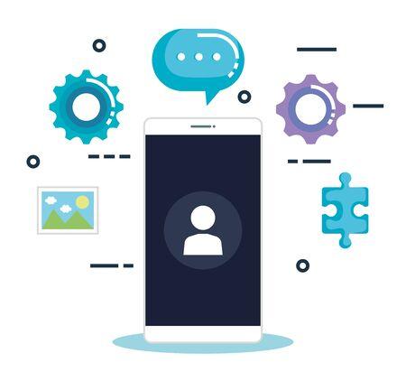 smartphone with business marketing vector illustration design Stock Illustratie