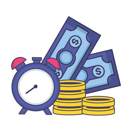 clock banknote coins money tax payment vector illustration