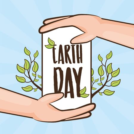 hands lettering branches earth day card vector illustration