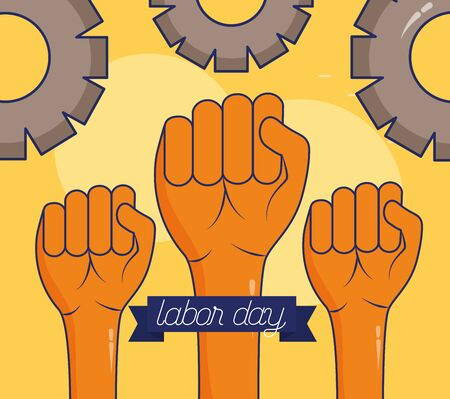 raised hands gears happy labour day vector illustration