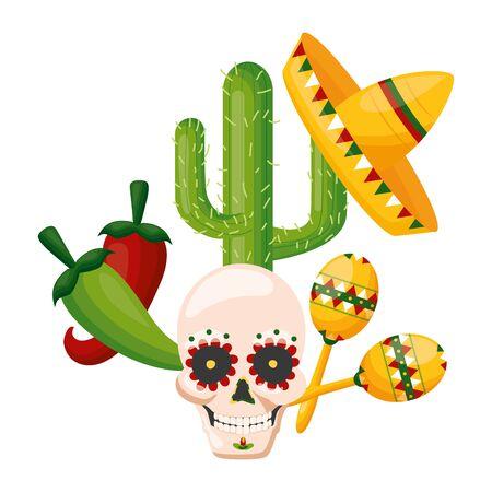 skull cactus hat maracas jalapeno mexico cinco de mayo vector illustration Standard-Bild - 129477752