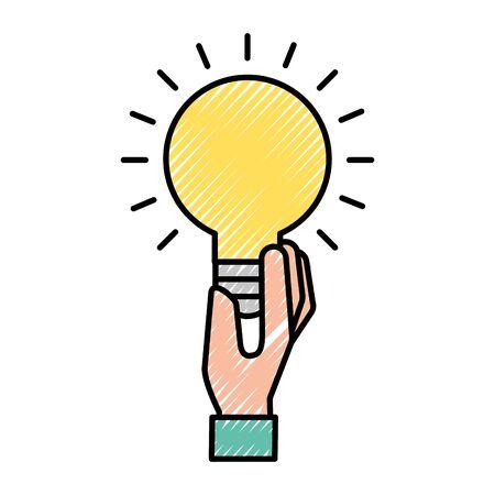hand holding bulb idea creativity symbol vector illustration  イラスト・ベクター素材