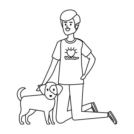 young man volunteer with cute dog vector illustration design Banque d'images - 129484273