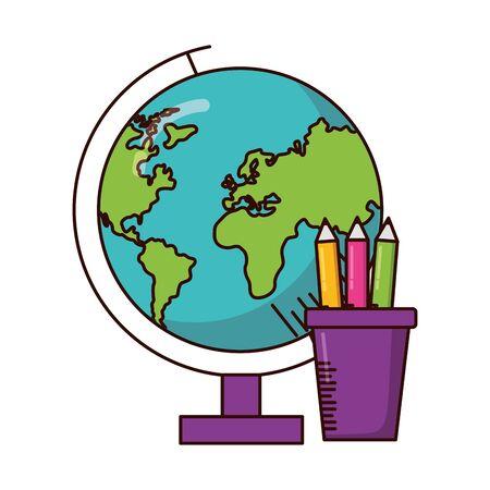 school globe pencils supplies vector illustration design Çizim