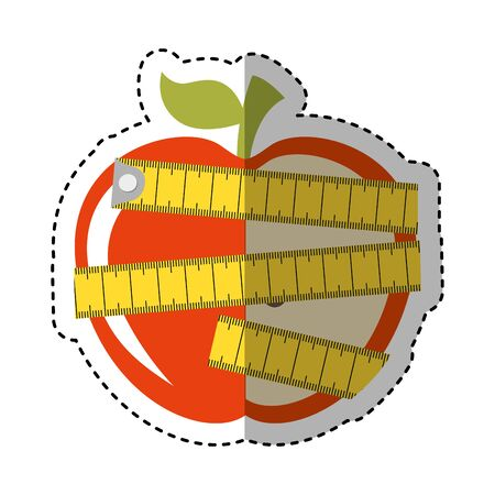 apple with tape measure icon vector illustration design Çizim