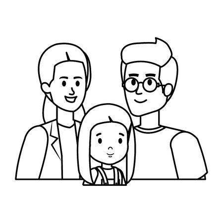 parents couple with daughter characters vector illustration design Banque d'images - 129484284