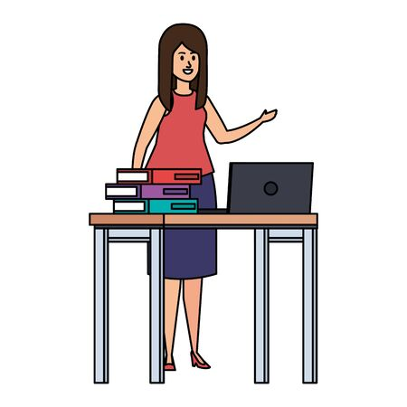 young teacher female in desk with laptop and books vector illustration design 일러스트