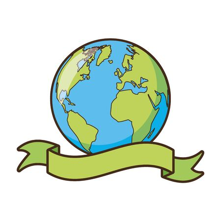 planet sticker earth day card vector illustration