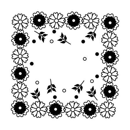 frame decoration flowers leaves natural floral vector illustration