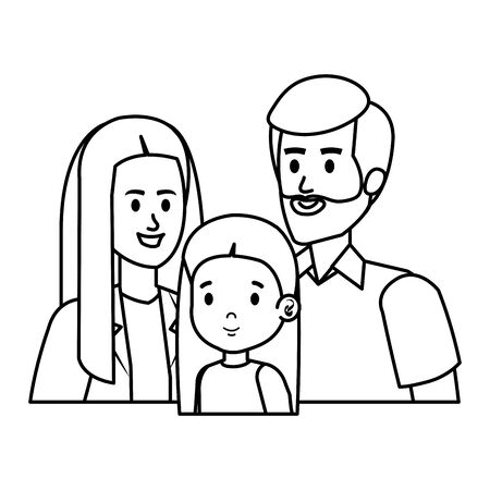 parents couple with daughter characters vector illustration design Banque d'images - 129484312