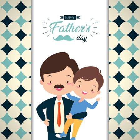 happy fathers day dad carrying son card vector illustration