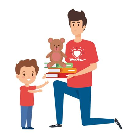 man volunteer giving a boy books and bear teddy vector illustration design