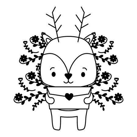 cute deer cartoon mail love vector illustration