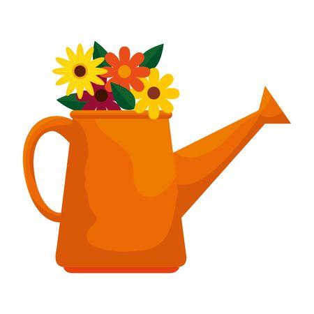 sprinkler pot with flowers vector illustration design Illustration