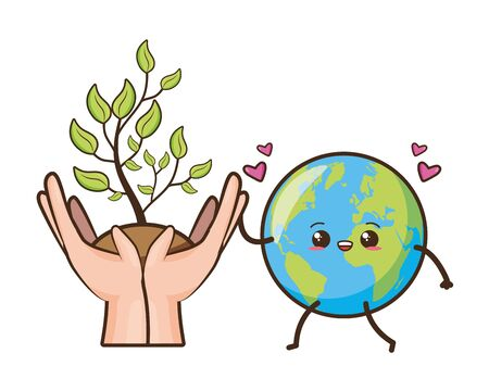 kawaii planet and plant in hands earth day vector illustration