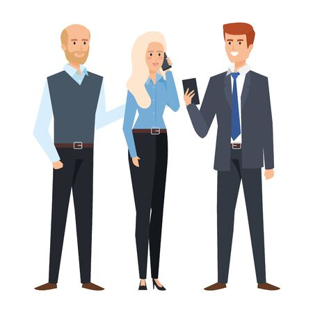 business people calling with smartphone vector illustration design