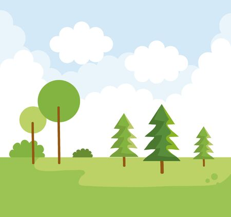 nature landscape with pine trees and clouds vector illustration