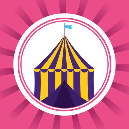 carnival tent circus amusement icon vector illustration Ilustrace